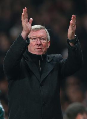 MANCHESTER, ENGLAND - MARCH 05:  Manchester United Manager Sir Alex Ferguson appaluds the fans at the end of the UEFA Champions League Round of 16 Second leg match between Manchester United and Real Madrid at Old Trafford on March 5, 2013 in Manchester, United Kingdom.  (Photo by Alex Livesey/Getty Images)