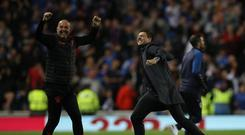 Pure delight: Rangers assistant Gary McAllister and boss Steven Gerrard celebrate a victory in the Europa League qualifying stages