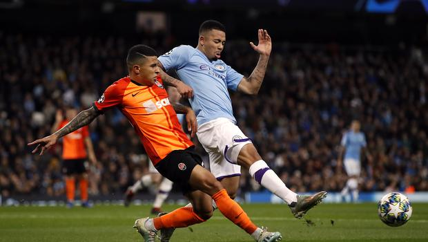 Manchester City's Gabriel Jesus (right) and Shakhtar Donetsk's dos Santos Dodo battle for the ball during their CHampions League match on Tuesday night (Martin Rickett/PA)