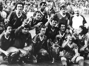 Champions: Forest celebrate their second European Cup win over Hamburg in Madrid in 1980