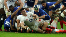 New surroundings: Tom Curry playing No.8 for the first time in England's defeat to France