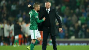Michael O'Neill has revealed how Steven Davis helped persuade him to go for the Northern Ireland job (Liam McBurney/PA)