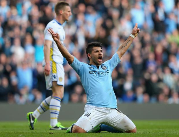 MANCHESTER, ENGLAND - FEBRUARY 17: Sergio Aguero of Manchester City celebrates scoring his team's fourth goal during the FA Cup with Budweiser Fifth Round match between Manchester City and Leeds United at the Etihad Stadium on February 17, 2013 in Manchester, England. (Photo by Alex Livesey/Getty Images)