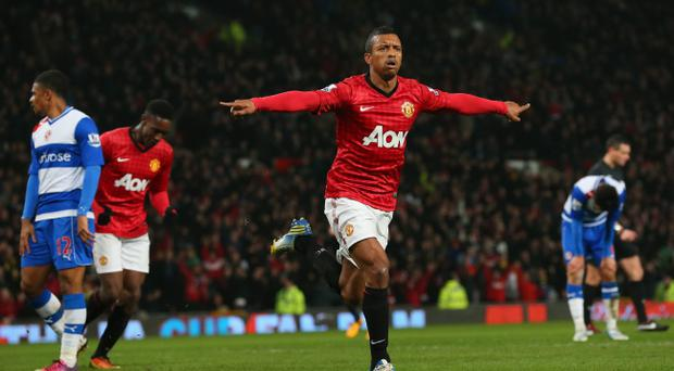 MANCHESTER, ENGLAND - FEBRUARY 18: Nani of Manchester United celebrates after scoring the opening goal during the FA Cup Fifth Round match between Manchester United and Reading at Old Trafford on February 18, 2013 in Manchester, England. (Photo by Alex Livesey/Getty Images)