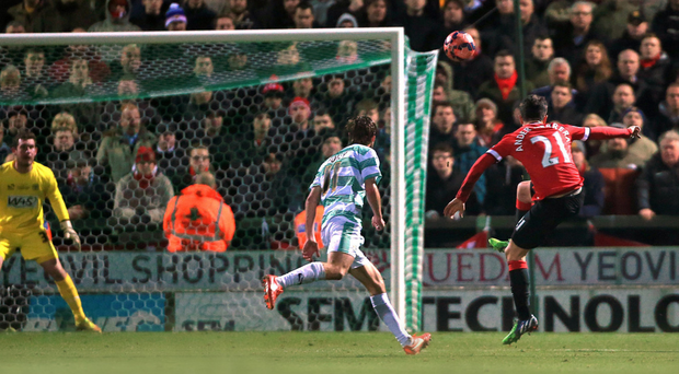 Goalward bound: Ander Herrera scores for Manchester United in their 2-0 FA Cup win over Yeovil