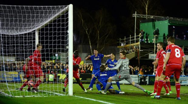 Big scare: Adebayo Akinfenwa scores Wimbledon's equalising goal last night before Steven Gerrard won the game for Liverpool