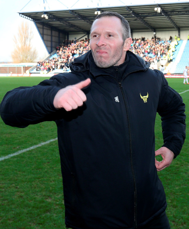 Thumbs up: Oxford manager Michael Appleton after their shock win over Swansea