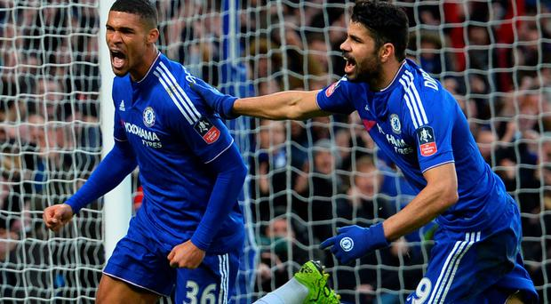 Shining light: Ruben Loftus-Cheek congratualted by Diego Costa after scoring his first goal for Chelsea