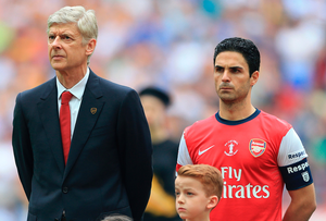 Old times: Arsene Wenger won seven FA Cups during his reign as Arsenal manager, two of which were achieved with Mikel Arteta (right) as captain