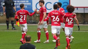 Bristol City's Chris Martin (centre) celebrates scoring the winner in a 2-1 FA Cup victory over Portsmouth (David Davies/PA Images).