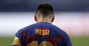 Lionel Messi was dejected at the end of Barcelona's Champions League mauling (AP Photo/Manu Fernandez/Pool)