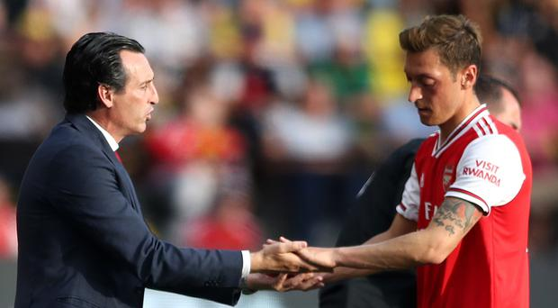 Unai Emery insists Mesut Ozil needs rest after missing the trip to Germany (Nick Potts/PA)