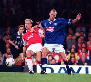Bergkamp scored his first Arsenal hat-trick against Leicester in August 1997 (Rui Vieira/PA)