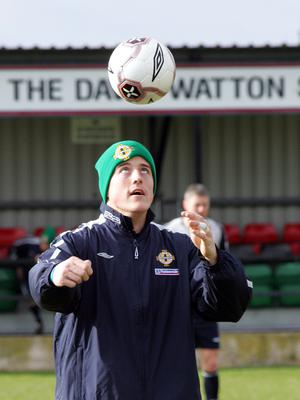 Northern Ireland's Michael Ingham in training at New Forge. Picture By Rick Hewitt. 26/2/06.