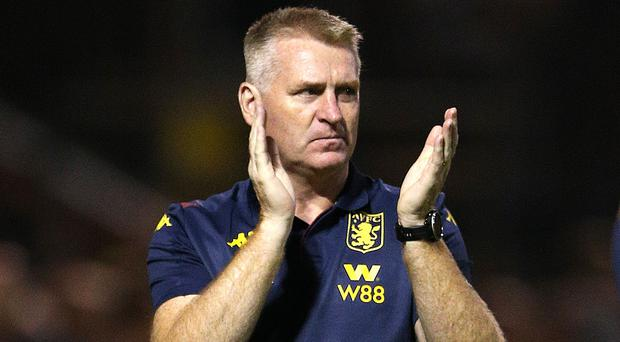 Dean Smith made 10 changes to his Aston Villa team (Nigel French/PA)