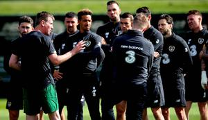 Listen up: Stephen Kenny addresses his Republic of Ireland players in training this week
