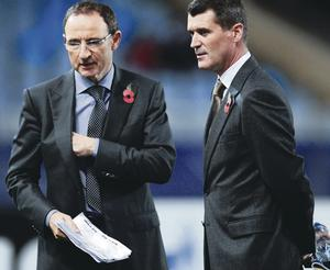 Double act: the Republic's Martin O'Neill and Roy Keane last night