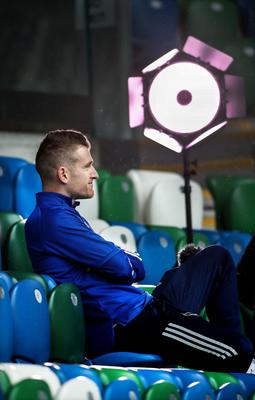 One more sleep: Northern Ireland's Steven Davis during yesterday's training session at Windsor Park
