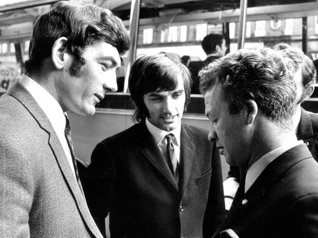 Big names: Pat Jennings and George Best with NI boss Billy Bingham in 1969