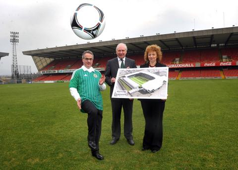 Environment minister Alex Attwood, IFA President Jim Shaw and Minister of Culture, Arts and Leisure Carál Ní Chuilín at Windsor Park. The Environment Minster has granted planning permission for the redevelopment of Windsor Park football stadium in south Belfast