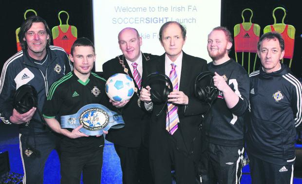 Carl Frampton, Mayor of Lisburn William Leathem, David Bowen and Northern Ireland fan Luke Walsh launch SoccerSight alongside Grassroots officers Malcolm Roberts and Ken Duncan