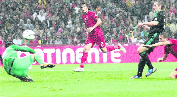 Niall McGinn scored his first international goal away to Portugal in October