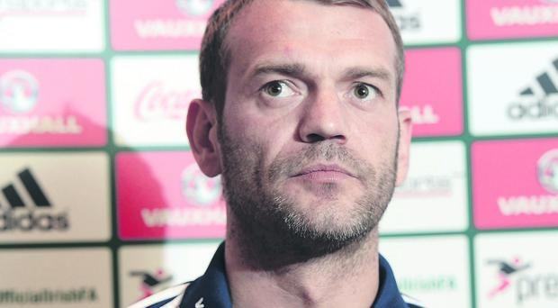 Roy Carroll during this afternoon's Northern Ireland player's press conference at the Culloden House hotel ahead of their 2014 World Cup qualifier with group leaders Russia this evening