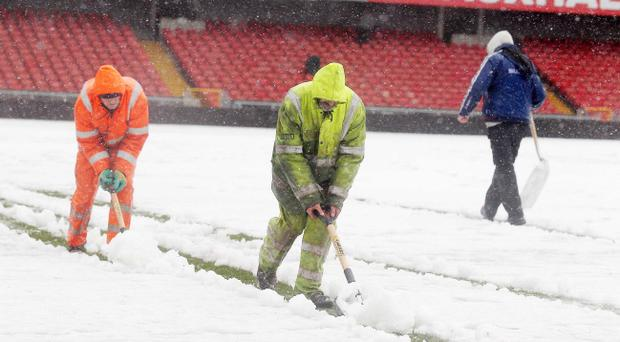 Windsor Park's pitch was covered in snow today