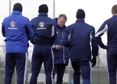 Northern Ireland manager Michael O'Neill takes training at the University of Ulster, Jordanstown