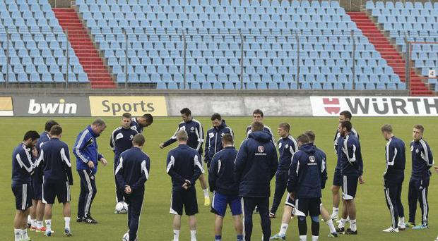 Sightseeing: Northern Ireland trained at the Stade Josy Barthel last night ahead of this evening's game against Luxembourg