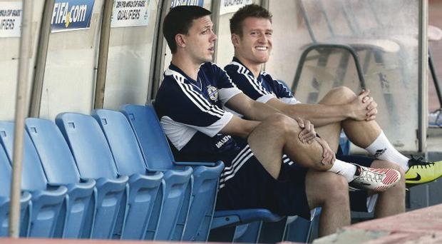 Watching brief: captain Steven Davis and Chris Baird sat out training last night but should be good to go tonight
