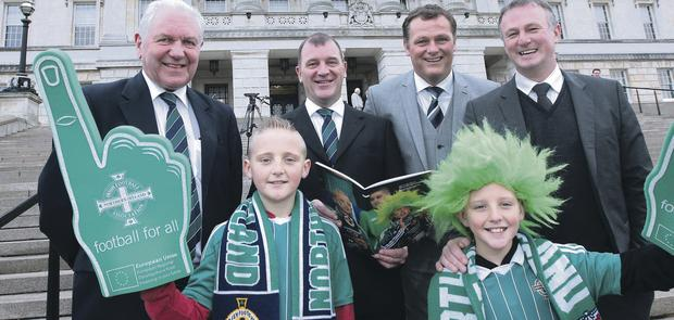 Brighter future: Jim Shaw (Irish FA President), Patrick Nelson (Irish FA chief executive), Jim Magilton (Irish FA Elite Performance Director) and Michael O'Neill (Northern Ireland manager) pictured with Christian and Mason King at the launch of the Irish FA's Strategic Plan for 2013/2018 – We're Not Brazil...We're Northern Ireland at Parliament Buildings, Stormont