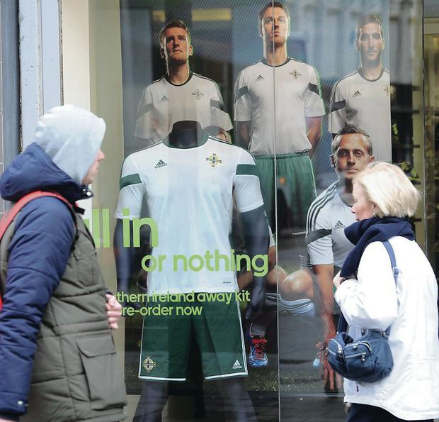Getting shirty: The new Northern Ireland away kit unveiled yesterday in Belfast