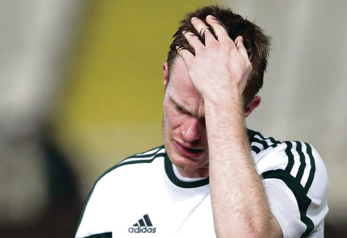 Chris Brunt shows his frustration after Northern Ireland's scoreless draw in Cyprus