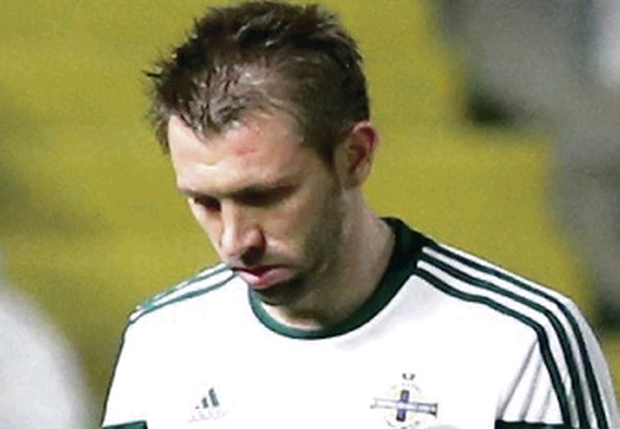 Gareth McAuley was sent off in Nicosia