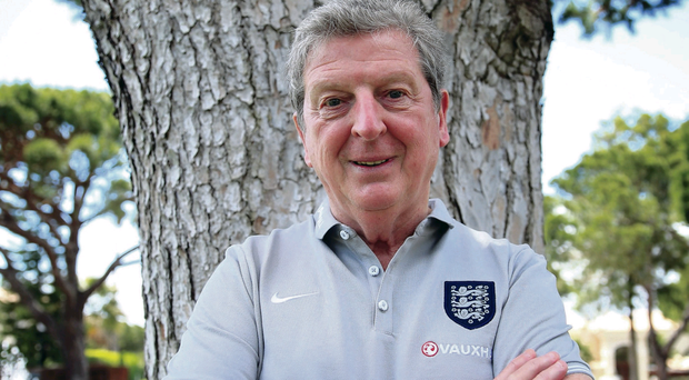 Raring to go: Roy Hodgson at the Vale Do Lobo Resort in Portugal yesterday