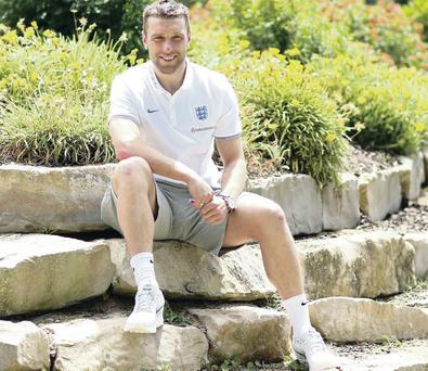 In dreamland: Ricky Lambert at the England training base in Portugal preparing for the World Cup finals