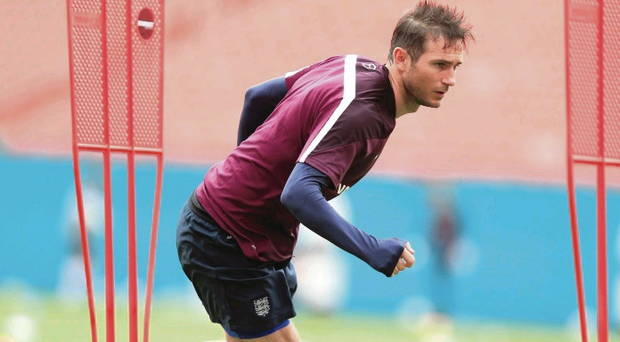 The end is near: Frank Lampard trains yesterday but he all but confirmed he will quit the international scene after the World Cup