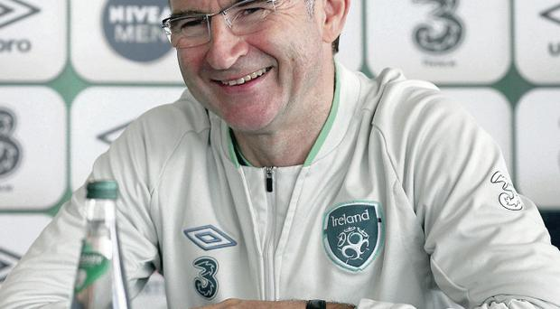 Making plans: Republic of Ireland manager Martin O'Neill addresses the media in New Jersey yesterday