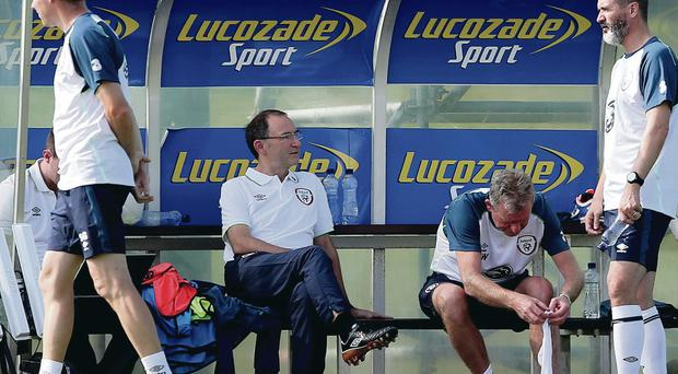 Hot work: Martin O'Neill at the Republic's training session in Tbilisli in temperatures at over 25 degrees