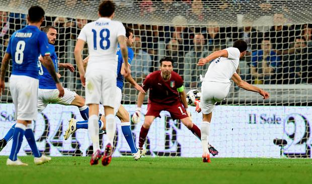 Andros Townsend registers England's equaliser against Italy