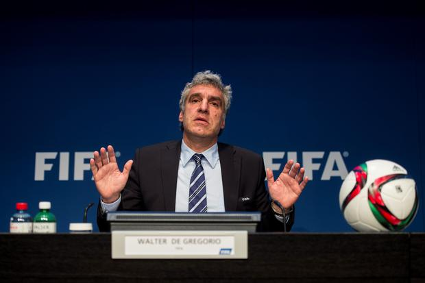 Pleading innocence: Fifa's communications chief Walter de Gregorio was eager to absolve blame from Sepp Blatter