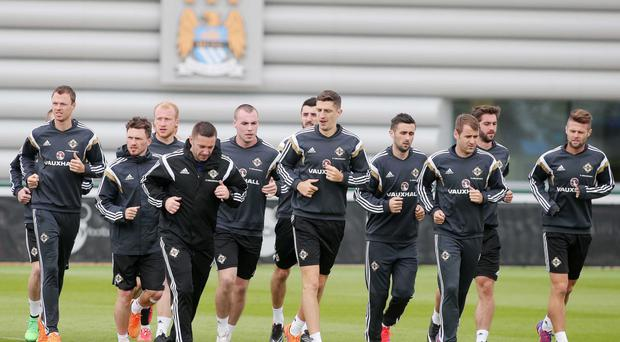 Preparation time: Northern Ireland players including Niall McGinn (right) enjoy the top class training facilities at the Manchester City Football Academy PRESSEYE
