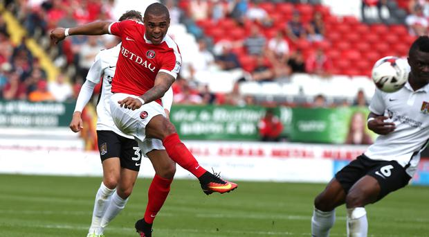 Taking aim: Josh Magennis is loving life at Charlton Athletic and is determined to keep impressing at his new club