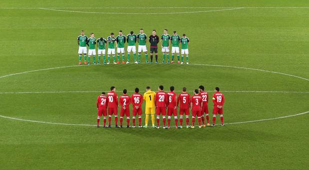 Remembrance: A minute's silence and poppy mosaic at Windsor Park