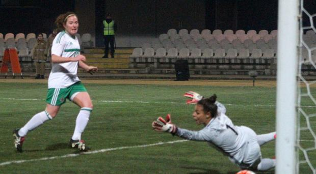 Clinical edge: Marissa Callaghan was Northern Ireland's goalscoring hero against Portugal