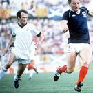 Close watch: John Hill in action for New Zealand against Scotland's Alan Brazil in the 1982 World Cup