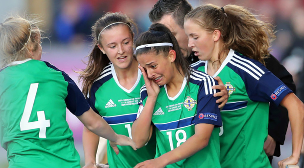 Big draw: Louise McDaniel is hailed after netting the equaliser for Northern Ireland last night