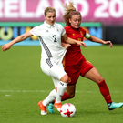 Germany's Dina Orschmann with Spain's Carmen Menayo