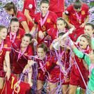 Just champion: Spain celebrate their Uefa Women's U19 Euro Championship win at Windsor Park